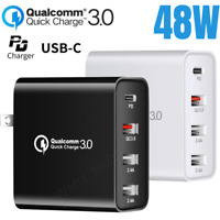 4 Ports 48W Fast Quick Charge QC 3.0 USB Hub Wall Charger Type C Adapter US Plug