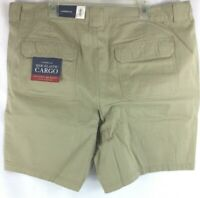 Croft & Barrow Men's Cargo Shorts Side-Elastic Khaki Relaxed Fit New Size: 46