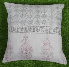 Dari Cushion Cover Handmade Cotton Grey Floral Pillow Cover Home Decor Throw