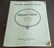 #20 Emmanuel Chabrier Espada Spanish Rhapsody Score Hampton Orchestra Library