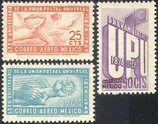 Mexico 1950 UPU 75th/Train/Railway/Plane/Runner/Postal Transport 3v set (n42024)