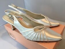 Touch Ups Fancy White Satin Slingback Heels Pumps Formal Wedding Crystals 7.5 M