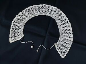 Beautiful Vintage VICTORIAN Handmade Lace Collar 100% Cotton Ivory