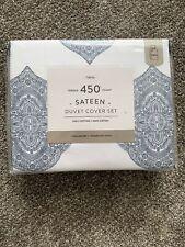 Bed Bath & Beyond 450Tc Sateen Duvet Cover Set Twin - Blue Medallion