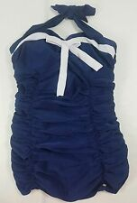 Pin Up Style Bathing Swim Suit Jr Size XL 1pc Navy Blue White Ruched Sides Bow