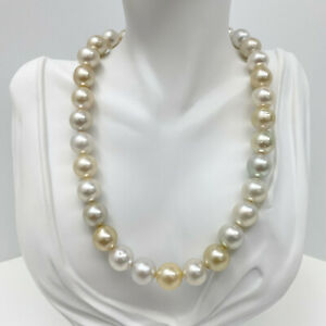 White and Golden South Sea Pearls Necklace Loose Strand Near-Rounds 12-13mm