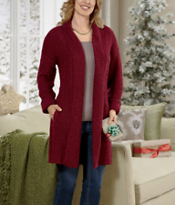 Seventh Avenue Boucle Trim Cardigan Sweater NEW size 2X PLUS Burgundy