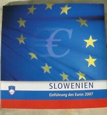 """KMS SLOWENIEN 2007 """"Einführung des Euros + Briefmarken"""" 1 Cent - 2 Euro - STGL."""