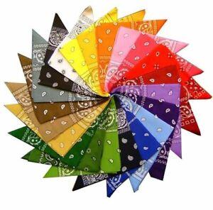 Pack Of 12 Mixed Colours Paisley Design Bandanas New