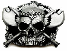 Skull Belt Buckle Skull & Axes Dark Gothic Design Authentic Pagan Product