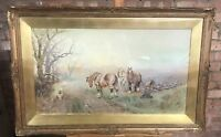 Albert Haselgrave Watercolour Of A Farmer On The Land Working Shire Horses
