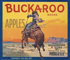 "RARE OLD ORIGINAL 1940 BUCKING BRONC ""BUCKAROO BRAND"" LABEL WENATCHEE WASHINGTON"