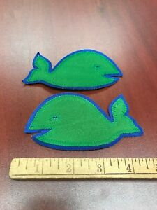"VINTAGE HARTFORD WHALERS PAIR OF Green SHOULDER PATCHES 5"" EMBROIDERED Old 1970s"