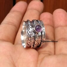 Amethyst Spinner Ring 925 Sterling Silver Plated Ring Handmade Ring Size 7 zz52