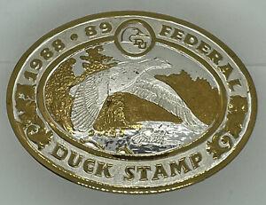 VINTAGE Crumrine Belt Buckle Federal Duck Stamp Hunting Skeet Western Cowboy