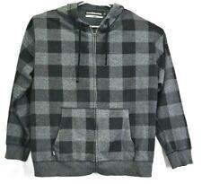 Hoodiebuddie Men XL Full Zip Up Casual Checkered Hooded Jacket Hoodie Grey