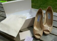 Jimmy Choo Ladies Patent Leather Nude peep toe stiletto shoes- Size UK 6/ EU 39