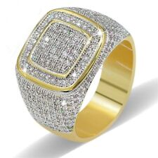 Men's Hip Hop Yellow Gold Finish Double Square Style Pinky Sim.Diamond Ring