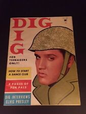 """1958 Elvis Presley, """"DIG"""" Magazine (No Label) (Scarce)"""