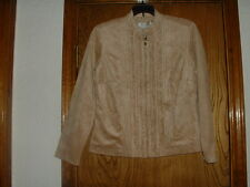Women's Coldwater Creek Faux Suede Full Zippered Blouse PXS NWT