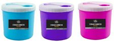 colourful plastic canisters with spoon pink blue purple tea sugar coffee kitchen