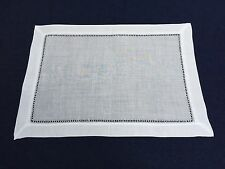 Set of 12 White Linen Cloth Gallucci Hemstitch Table Placemats 14x20 Inch
