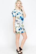 New Womens Large Floral Shift Dress Blue Size M/L UK (10-12)