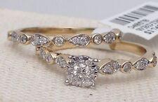 14k Yellow Gold Princess Cut Vintage Antique Diamond Engagement Ring Bridal Set