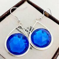 Vintage - CZECH Blue Glass Cabochon Statement Striking Drop Dangle Earrings