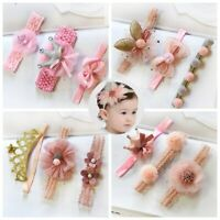 3 Pcs Baby Headband Crown Flower Bows Girl Newborn Elastic Baby Hair Band Turban