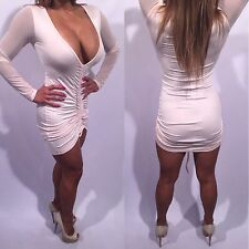 Connie's Exclusive Semi Sheer With See Thru Mesh Sleeves Beige Mini Dress L