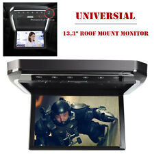"""13.3"""" Hd Universal Car Roof Monitor Mount Flip Down Mp5 Player Overhead Video Fm"""