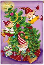 NEW EVERGREEN GARDEN FLAG ELF CHRISTMAS TREE TRIMMERS CUTE ELVES  12.5 X 18