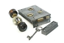 More details for late 19th century rim lock with ebony/rose wood handel mortice set with key