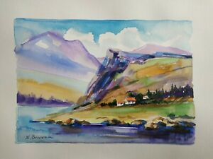 COLOR ORIGINAL Modern style Décor art gift watercolor PAPER SUMMER BORDERS SEA