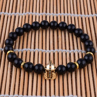 8mm Black Agate Gemstone Stretch Beaded Bracelet Zircon Spartan Helmet Jewelry