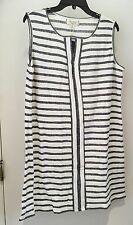 MAX Studio  White/Gray Striped Sleeveless Keyhole Tunic Shirt Plus sz XL NWT