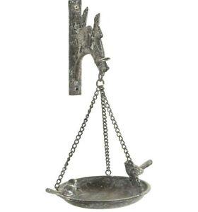 Antique Finish Cast Iron Hanging Bird Feeder / Bath with Bracket