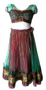 Pakistani Indian Skirt Top Bollywood red green Lengha Choli ghagra size S M 4 6