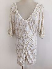 Guess Jeans Plunging V-Neck Tapered Tunic Top w/ Gold Metallic Size S