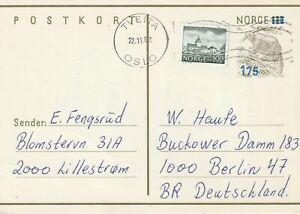 1982 Norway card sent from Tveita Oslo to Berlin Germany