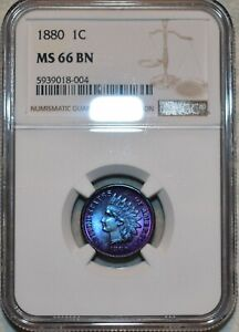 NGC MS-66 BN 1880 Indian Head Cent, Vibrantly toned, Finest Known BN!