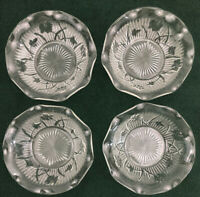4 Antique Vintage Iris & Herringbone Jeanette Depression Glass Ruffled Bowls
