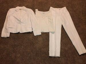 Tahari Arthur S Levine 3 pcs Pant Suit Womens Blazer & Top Size 8 White