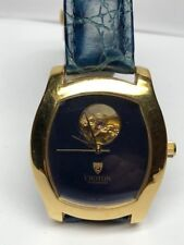 Unique Croton Mens 5 ATM 165 Ft Swiss  Automatic Yellow-Tone with Blue Dial