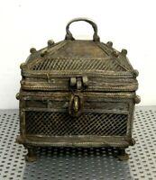 Vintage Decorative Brass Hinge Lid with Hasp Trinket Jewelry Box