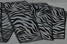 Wired Ribbon~Safari Zebra Stripe~Wild Jungle~Black~White~Holiday~Wreath~Gift~Bow