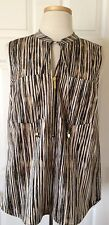 $120 NWT Womens Michael Kors MK Charm Sleeveless Striped 1/2 Zip Blouse Shirt 10