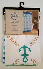 Fabric Shower Curtain Caribbean Joe New Nancy Anchor 70 X 72 Blue Gold Tropical