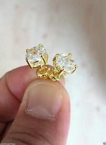 10K Gold SI1 Composite Lab Diamond Halo Earrings Screw Back 0.75 Ctw.